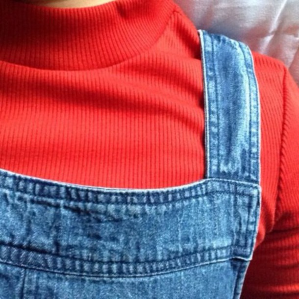 sweater turtleneck red aesthetic pale retro vintage cute soft denim overalls