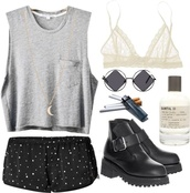 hipster,american apparel,glasses,underwear,tank top,shorts,round sunglasses,indie,sunglasses,jewels,shoes,polyvore,muscle tee,grey,black shorts,short shorts,triangle,white bralette,lace bralette,boots,ankle boots,moon necklace,crescent pendant,nastygal,perfume,smoke