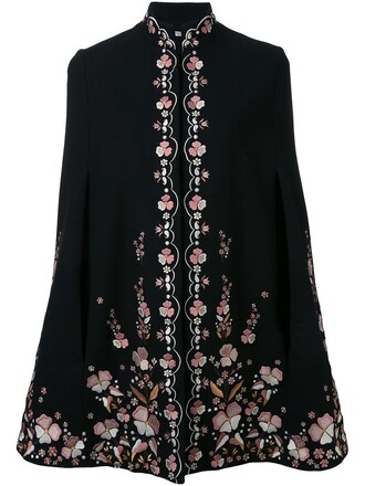 cape embroidered black top
