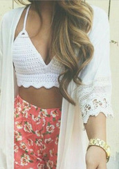 pink shorts,orange shorts,flowered shorts,white tank top,white sweater,cardigan,top,and the top,fashion,kimono,style,trendy,shorts,crop tops,beach,High waisted shorts,pom pom shorts,shirt,tank top,lace kimono,lace cardigan,crochet crop top,bralette,knit,blouse,boho,summer,floral,pinkandgreen,dress,printed shorts,white top,knitted top,bralette tops,white kimono,hair accessory,hat,high waisted,flowers,bralet top,coral shorts,white crop tops,pretty,white shirt,white lace dress,girl shirts,lace top