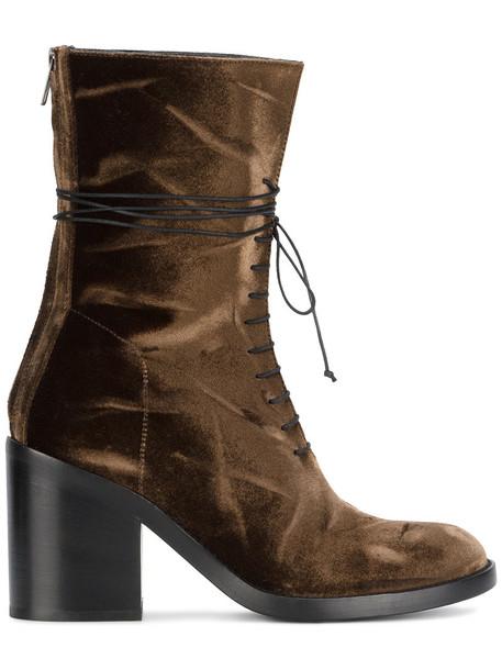 ANN DEMEULEMEESTER women lace leather velvet brown shoes