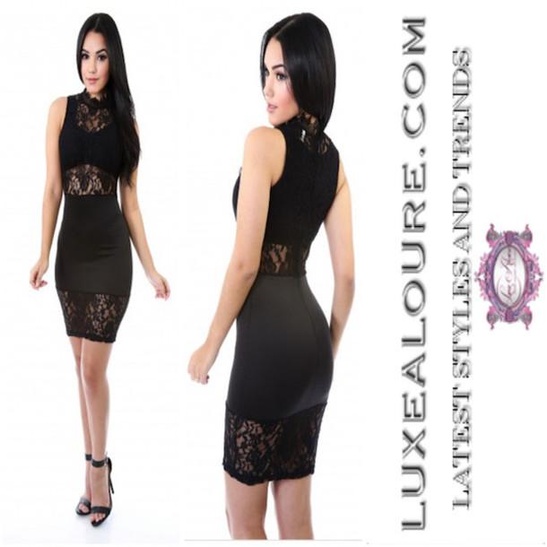 Dress Black Lace Little Black Dress Lace Dress Club Dress Mini