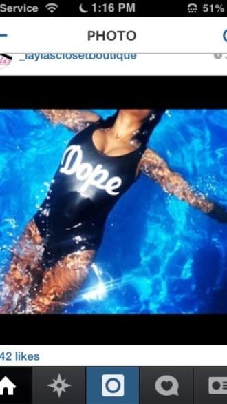swimwear black white dope quote on it cute one piece swimsuit