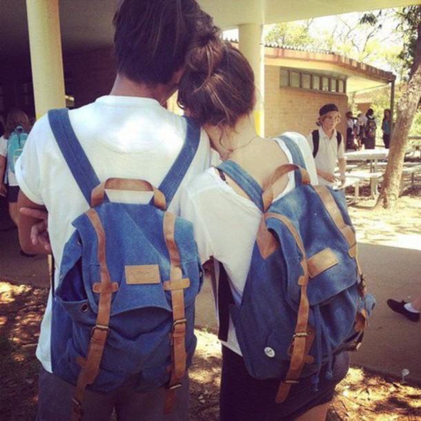 bag backpack blue denim backpack denim brown buckles