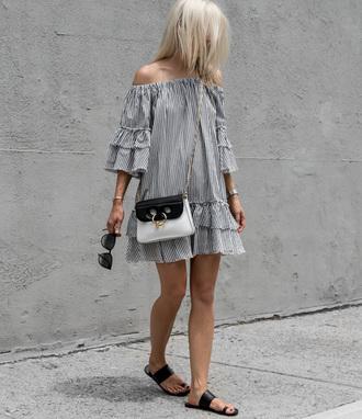 dress tumblr off the shoulder off the shoulder dress mini dress stripes striped dress shoes black shoes sandals bag crossbody bag jw anderson bag