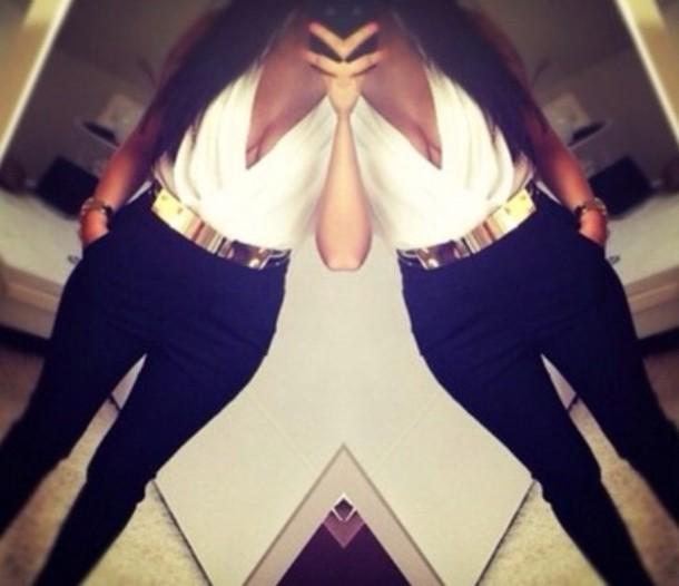 belt gold middle waist chique pants blouse