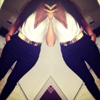 belt gold middle waist chique pants blouse the middle