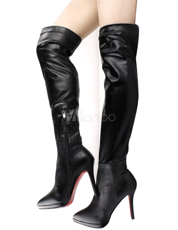 Black Cow Leather Zipper High Heel Over The Knee Boots