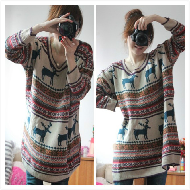 wholesale latest lady Nordic style christmas deer lamb wool pullover thickening sweater medium long o neck 1pc/lot free shipping-inPullovers from Apparel & Accessories on Aliexpress.com