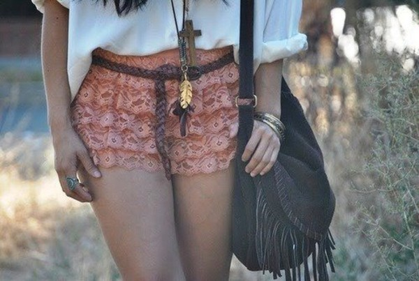 shorts belt bag jewels ruffle pink cute lace pink short pants clothes blouse summer outfits hot trendy fringed bag boho