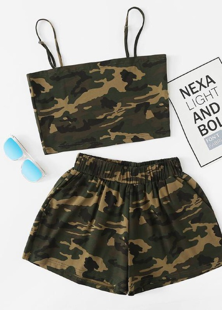 shorts girly camouflage two-piece matching set crop tops cropped crop