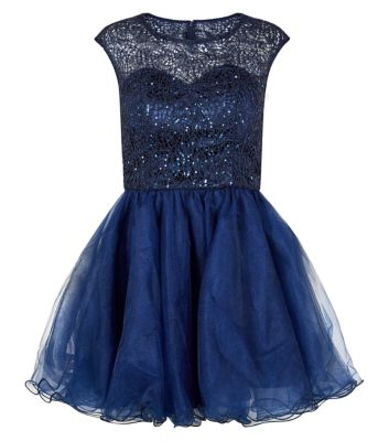 Chi chi navy lace top cap sleeve embellished prom dress