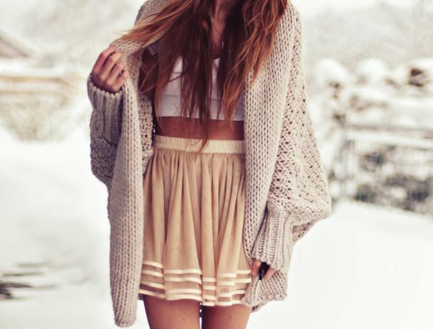 skirt beige stripes striped skirt skater skirt beige skirt sweater blouse tank top