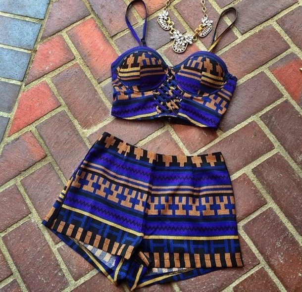 tank top top crop tops cute top cute shorts High waisted shorts jewels shorts two-piece blue aztec bustier crop top blue romper