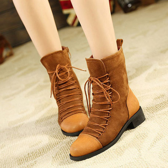shoes flat boot brown