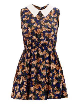 Madam Rage Blue Vintage Floral Shirt Dress