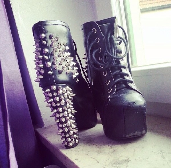 shoes spikes black high heels laces
