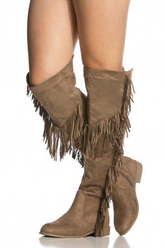 Faux Suede Fringe Knee High Boots @ Cicihot Boots Catalog:women's ...