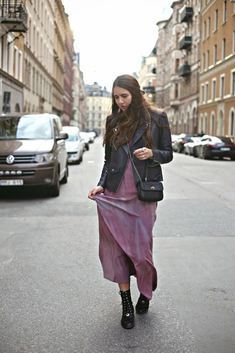 bag blogger color me nana purple dress tie dye leather jacket