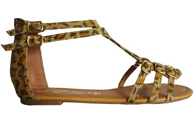 Strappy animal leopard gladiator sandal flip flop shoe