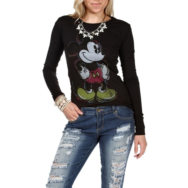 Black Mickey Mouse Long Sleeve Tee - Polyvore