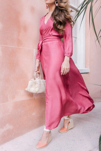 gal meets glam blogger dress shoes jewels bag pink dress wedges espadrilles maxi dress