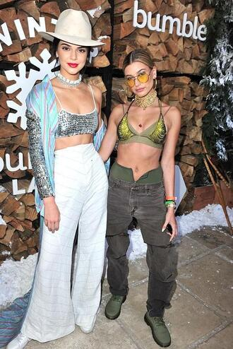 pants bra bralette swimwear bikini top model off-duty hailey baldwin kendall jenner wide-leg pants coachella coachella outfit