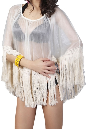 top see-through bat-wing sleeve blouse summer beach fringe