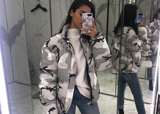 jacket camo grey and white puffer shoes heels boots top phone cover bag look ripped jeans camouflage white top bomber jacket instagram denim jacket leather jacket