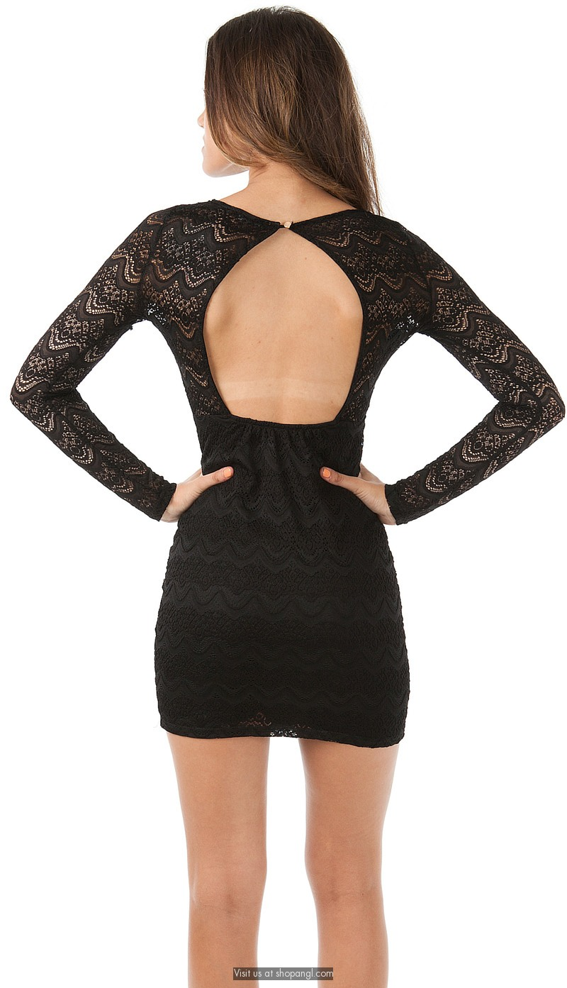 Scallop trim all lace long sleeve dress
