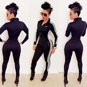 jumpsuit,adidas tracksuit,adidas,black,bodysuit,adidas suit,jacket,mohawk,hairstyles,booty,african american,natural hair,instagram,adidas jumpsuit,navy