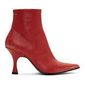 pointed toe boots,red,shoes
