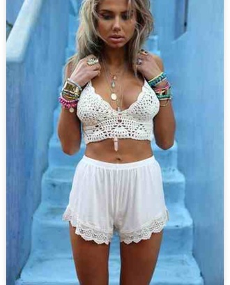 top bralette bralette tops crop tops white crop tops crochet top jewels shorts white shorts boho beach scalloped shorts scallop hem flowy pants lightweight lace shorts