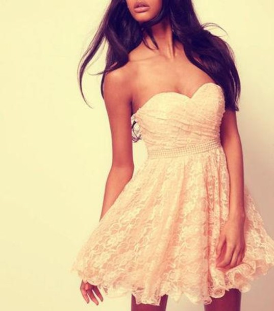 dress rose bustier dress bustier prom dress bandeau ivory dress lace dress summer dress cute dress white dress