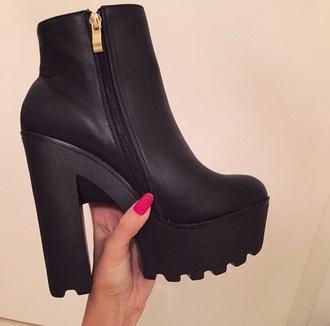shoes black platform shoes zip gold zipper heels block heels high heels black heels