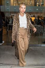 pants,top,shirt,white,white shirt,sofia richie,nyfw 2017,ny fashion week 2017,animal print,coat,fall outfits