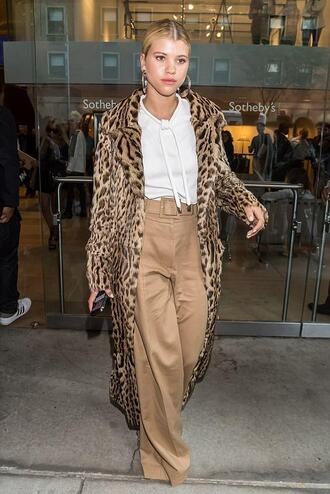 pants top shirt white white shirt sofia richie nyfw 2017 ny fashion week 2017 animal print coat fall outfits