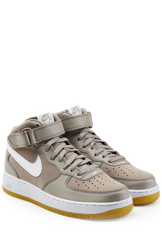 high sneakers high top sneakers leather suede beige shoes