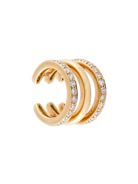 SARAH NOOR cuff women triple ear cuff gold yellow grey metallic jewels