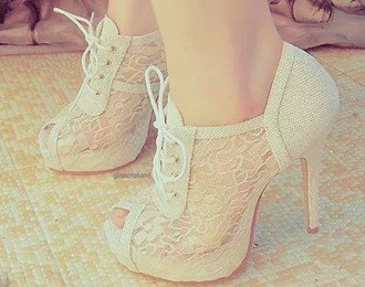shoes beige shoes lace fabric high heels cute high heels lace-up shoes