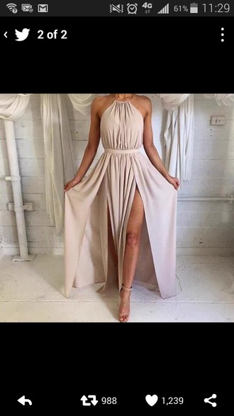 dress goddess cream dress white dress double slit dress halter neck