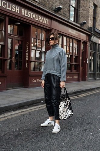 sweater blue sweater knit pants black pants leather pants bag knitted sweater knitwear sneakers white sneakers low top sneakers mesh