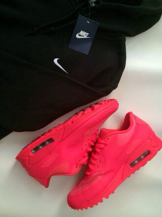 shoes pink hot pink clothes sneakers red airmaxes nike sweater nike sweater black sweater pink sneakers air max nike sneakers orange red nike nikes nike shoes basketball bright coloured red sneakers