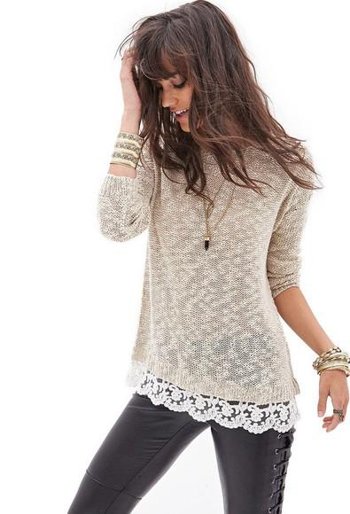 leggings fashion style pants sweater lace bracelets
