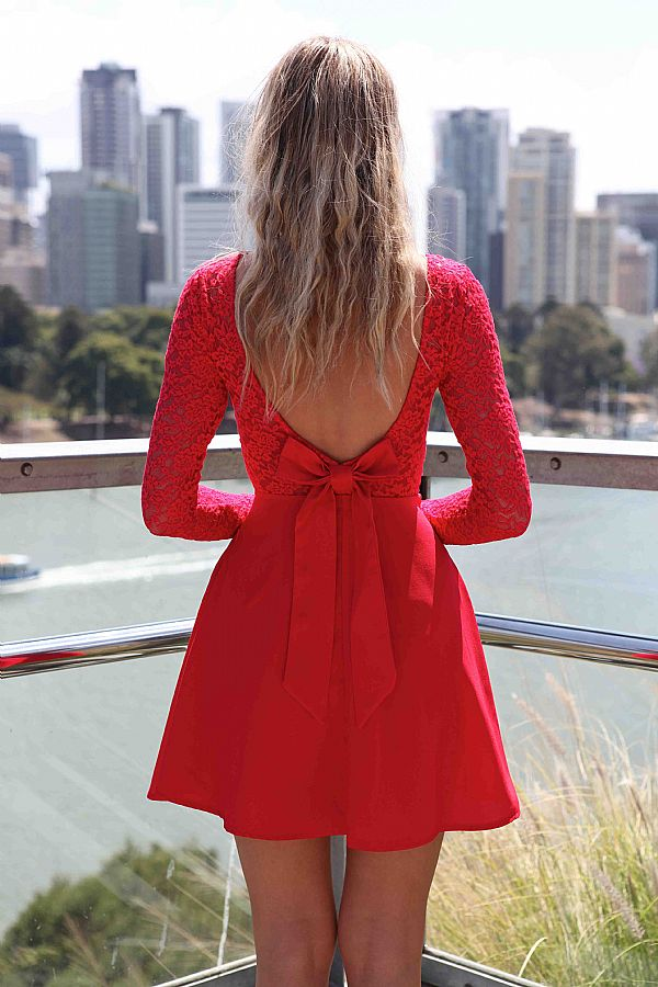 Red Cocktail Dress - Red Long Sleeve Skater Dress | UsTrendy