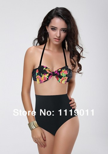 Black print high waist bikini set sexy vintage swimsuit top halter bathing suits retro floral bandage swimwear women 2014 new