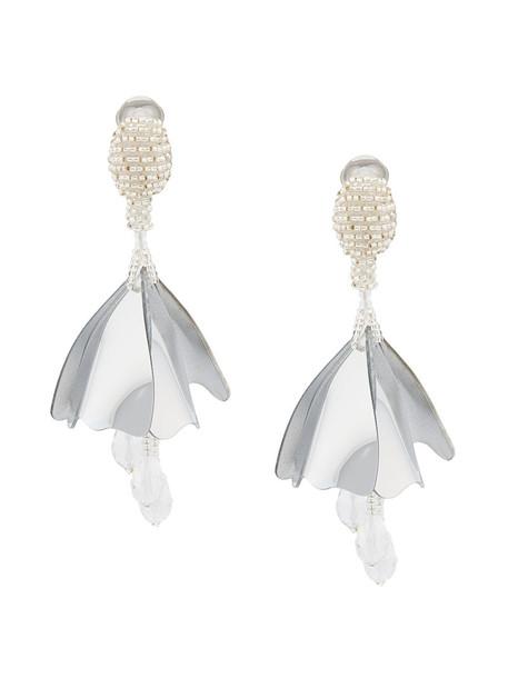women plastic earrings grey metallic jewels