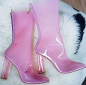 shoes,clear,transparent,boots,pink,fiya,ankle boots,heels,transparent boots
