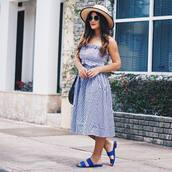 top,hat,tumblr,matching set,co ord,midi skirt,gingham,gingham skirt,bandeau,sandals,flat sandals,blue,sun hat,shoes