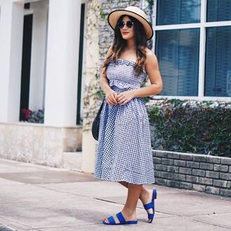 top hat tumblr matching set co ord midi skirt gingham gingham skirt bandeau sandals flat sandals blue sun hat shoes